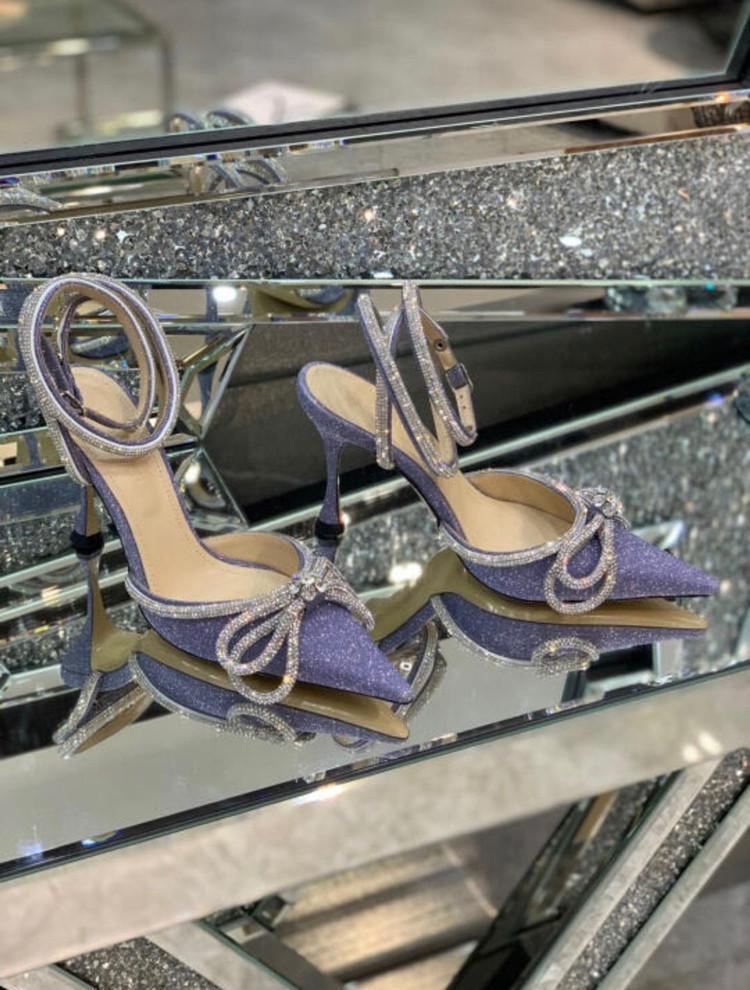 Bahar Yay Kristal Askısı Süslenmiş Sandal Seksi Kadın Sandalet Slingback Yüksek Topuklu Elbise Ayakkabı Boyutu 35-40