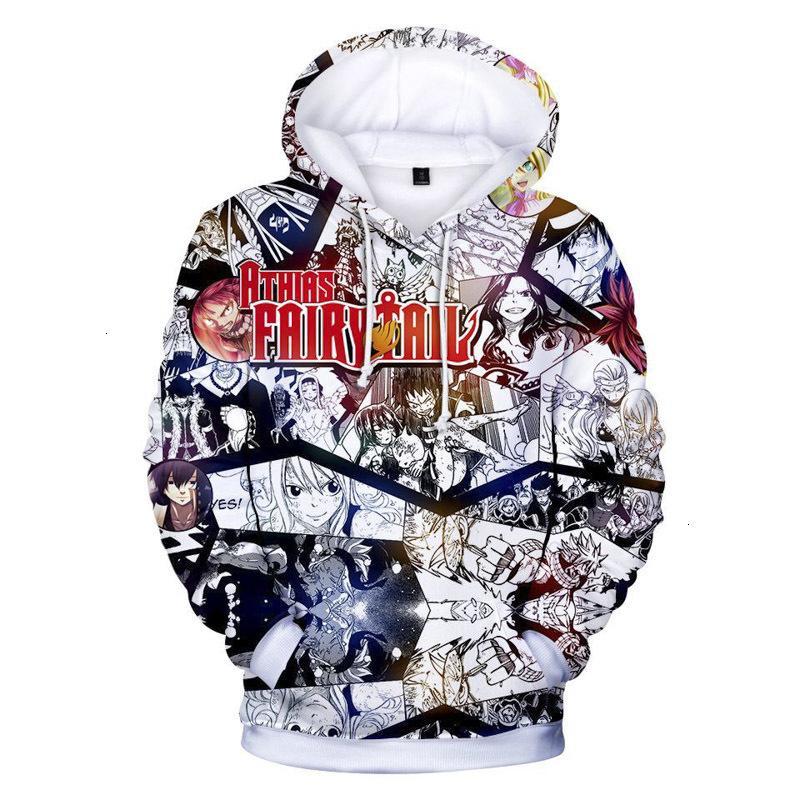 Fairy Tail Hoodie 2019 Новые аниме толстовки толстовки Natsu Pullover Hip Hop Ownwear Jumper мужская одежда семейные подарки 9 классических stylex0zs