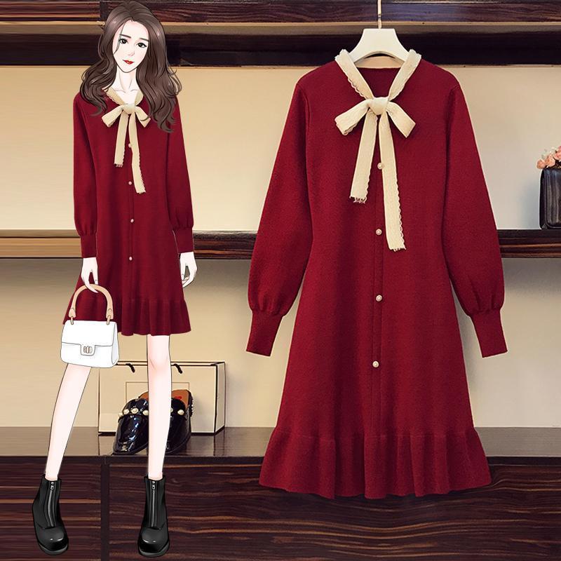 Casual Dresses JSXDHK Plus Size Pullover Kleid Herbst Winter Spitze Bowknot Rote gestrickte Perle Einreiher Weibliche Laterne Hülse Vestidos