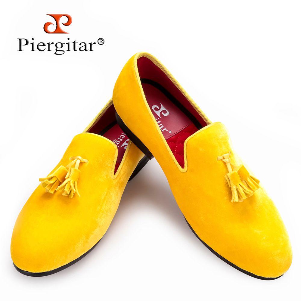 Piergitar yeni erkekler kadife ayakkabı kadife püskül ile parti ve düğün erkekler elbise ayakkabı İngiliz tarzı erkekler loafer'lar moda erkek daireler 210316