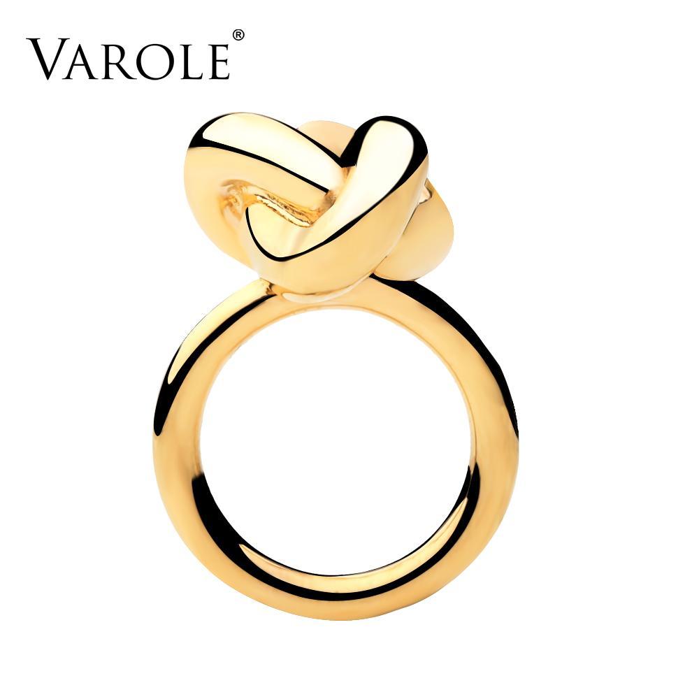 VAROLE Fashion Infinity Knotting Ring Design Gold Color Midi Rings for Women Jewelry Anel Feminino