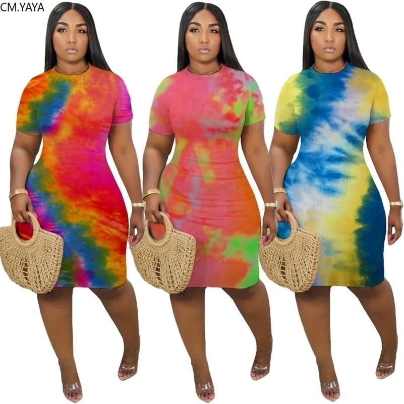 CM.Yaya Femmes Tie Tie Colory Impression O-Cou Sleeve Sleeve Bodycon Robe Midi Sexy Party Club Bandage Bandage Longueur Durée Crayon Robes 210312