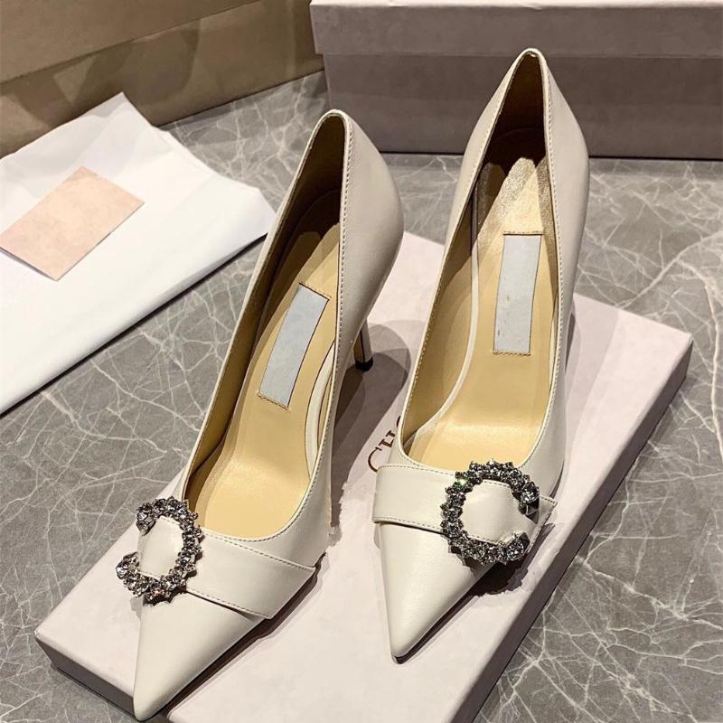 Дизайнерские каблуки женские заостренные носки горный хрусталь пряжки насосы платье высокие каблуки женская обувь элегантный Talon Femme Sexy Tacones Mujer