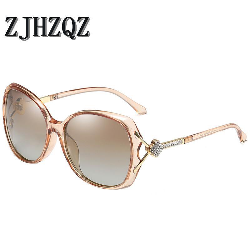 Солнцезащитные очки Высококачественные Роскошные Поляризованные Негабаритные Градиент Браун Черный Фиолетовый Бренд Дизайнер UV400 Солнцезащитные Очки для Женщин Окулос