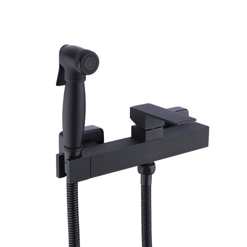 Brass Handheld Bidet Shower Sprayer with Hot and Cold Mixer Valve&1.5 m Shower Hose Kit Wall Mount Matte Black