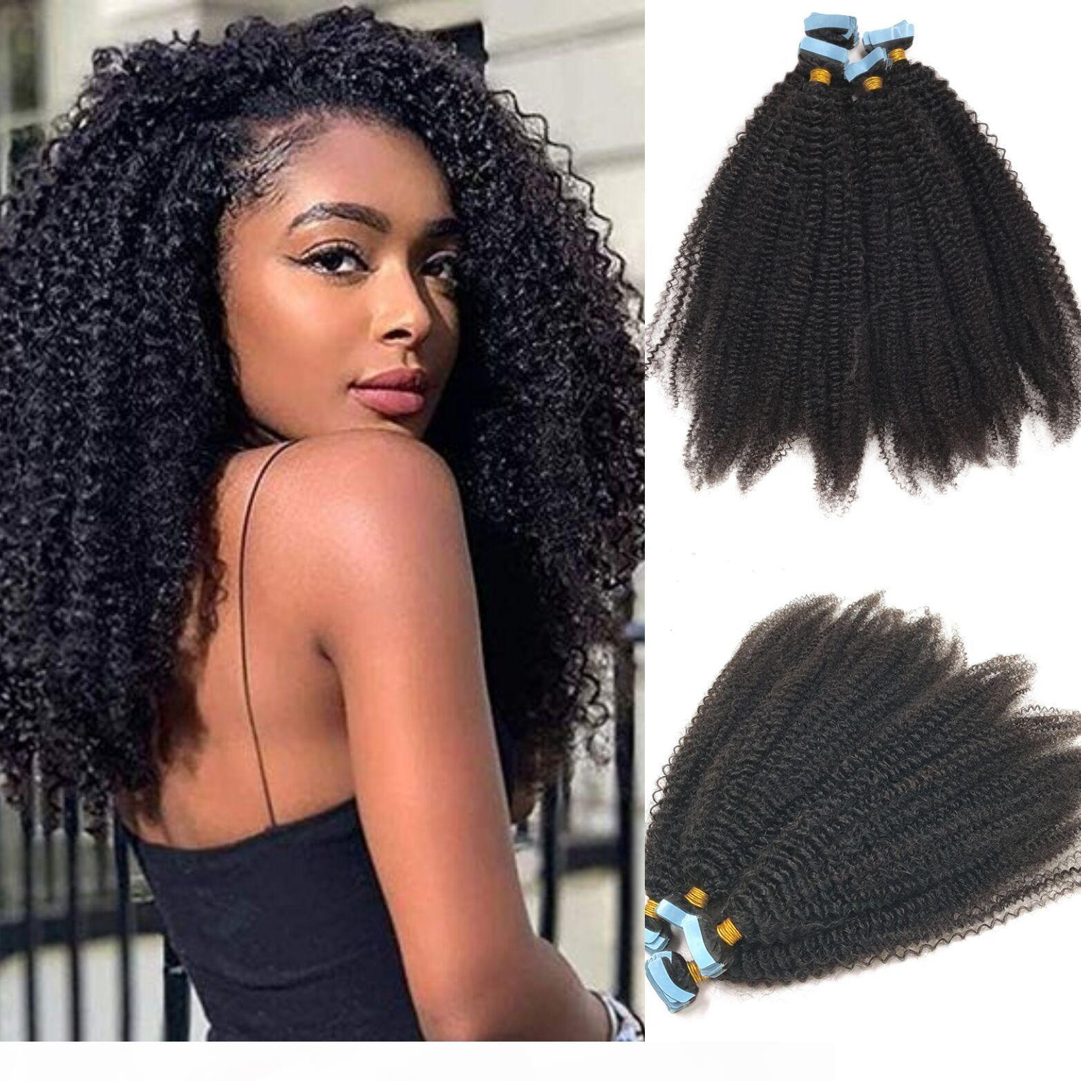 Кудрявая лента kinky в наращивании волос Virgin Brazilian Hair # 1b Натуральная черная кожа утомитель невидимой ленты на наращиваниях волос 100 г 40 шт.