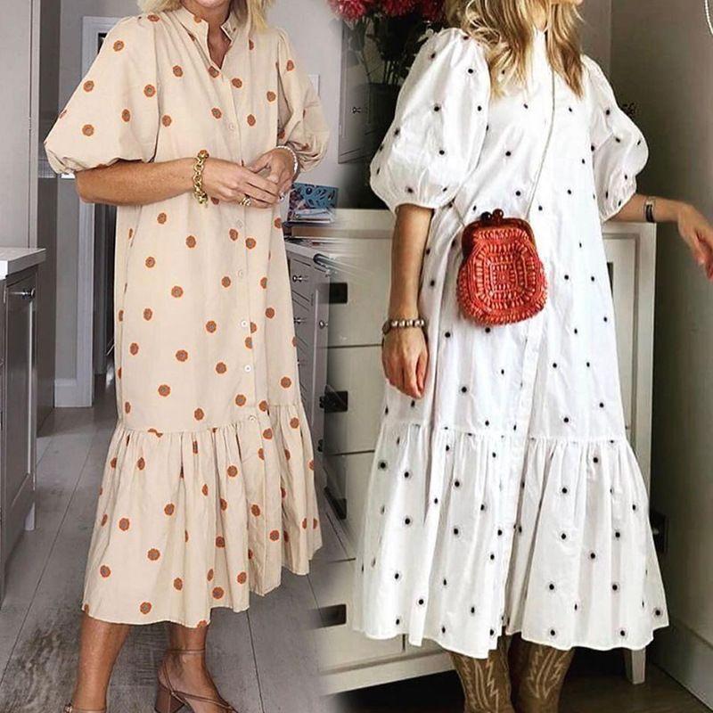 Design's Dress Designer FD218 Женская Одежда Осень Осень Зима 2021 Новый Короткий Рукав Печать Свободно Для Женщин