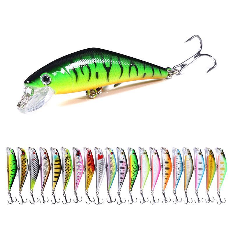 New fishig esche 100pcs by epacket 6.8 cm 5.2g 8 # Ganci Minnow Bass Fishing Eles 3D Minnow Bait Plastic Lure (MI131) Affondamento