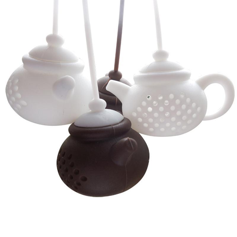 Silikontee Infuser Teekannenform Wiederverwendbar Teefilter Diffusor Home Tee Maker Küchenzubehör 7 Farben 174 S2