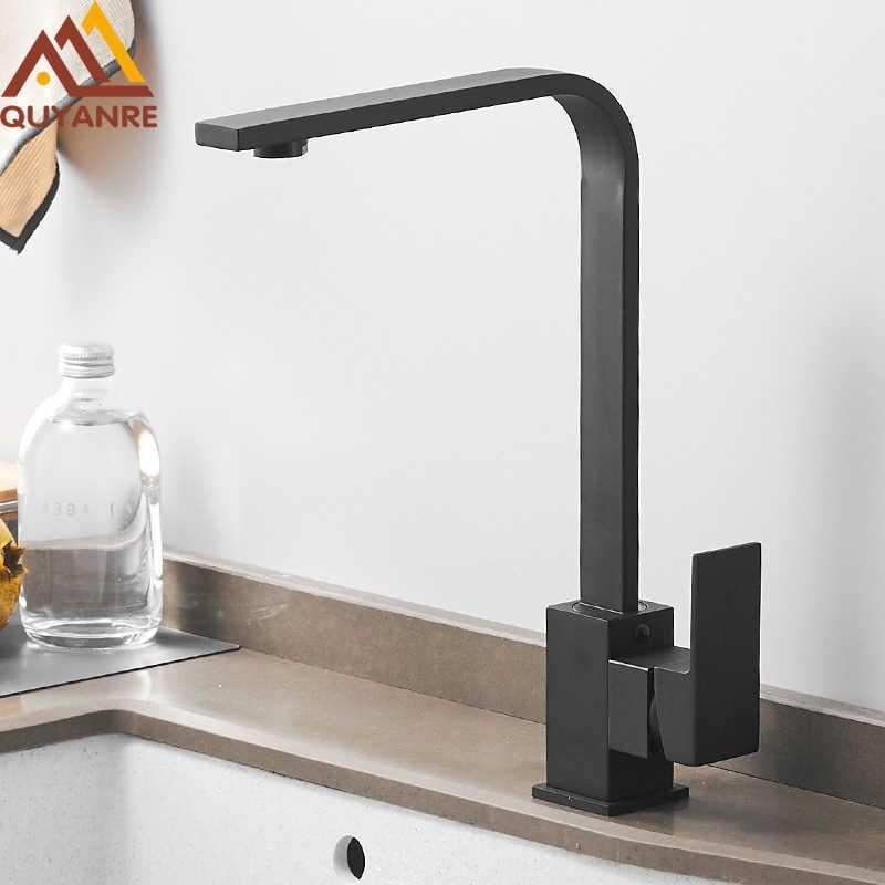 Quyanre preto quadrado latão torneira de cozinha única alavanca h / c 360 rotação mixer torneira tap guindaste de água torneira para cozinha toalha de banheiro 210724
