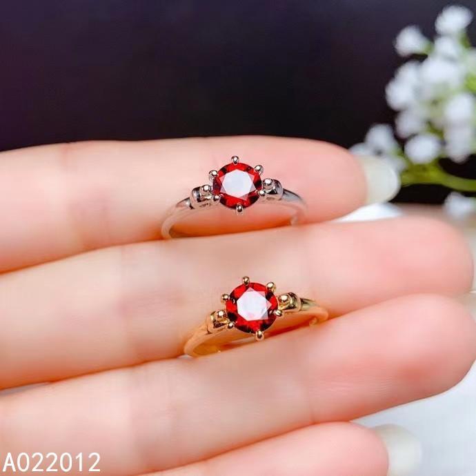 KJJEAXCMY fine jewelry natural garnet 925 sterling silver elegant gemstone women new adjustable ring support test J1208