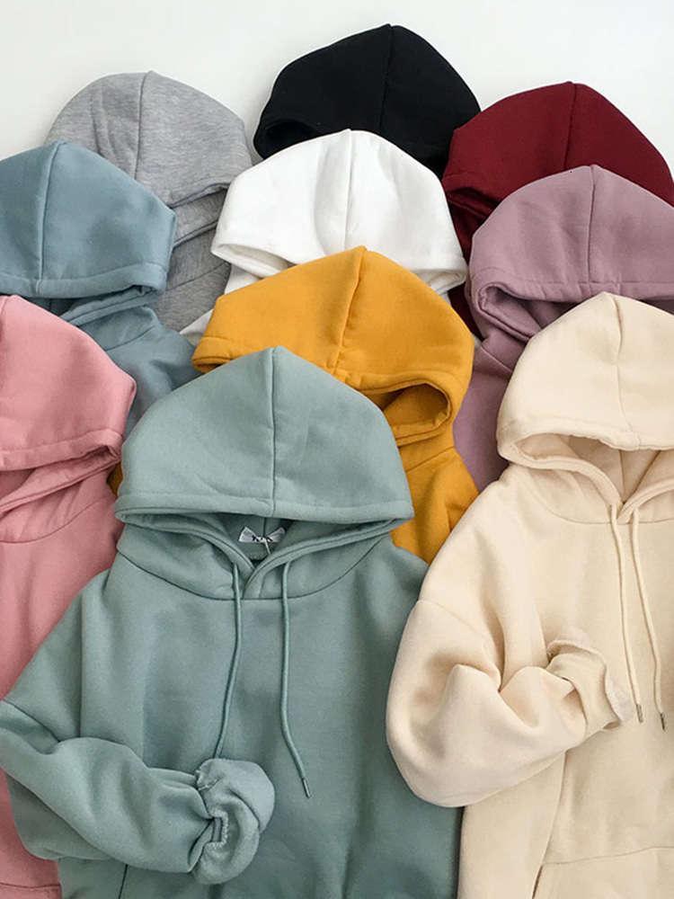 Drawstring Solid Color Women Fleece Hoodies Autumn 2020 New Women's Korean Style Velvet Thickened Loose Hooded Sweatshirt