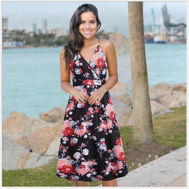 689 kadın Tulumlar, Günlük Elbiseler, Tulumlar Etek Çiçekli Elbise Kolsuz Elbiseler Ile Nuevo Estilo Vestido Para Chicas Mujeres WT19
