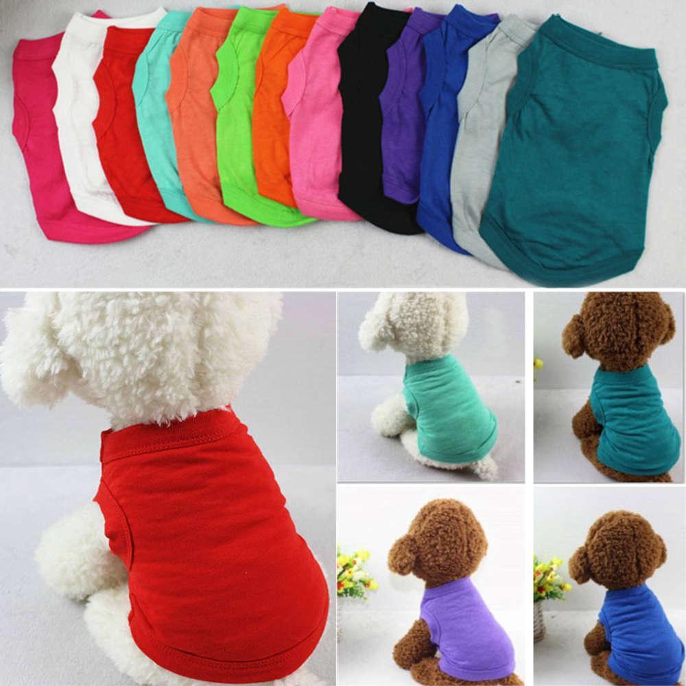 ПЭТ футболки летняя сплошная собака одежда мода верхние рубашки жилет хлопчатобумажная одежда щенка собаки маленькая собака одежда дешевая домашняя одежда WX9-932