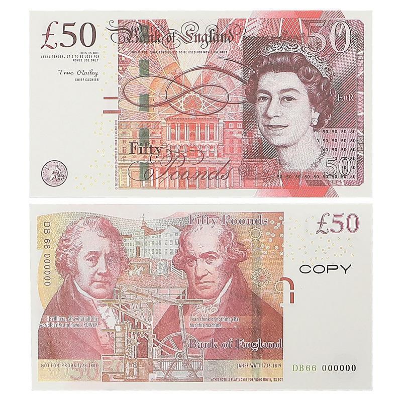 Play Paper Partded Money Toys Великобритания фунтов стерлингов GBP British 10 20 50 Commorative Prop Movie Banknotes Игрушка для детей Рождественские подарки или видеопленка