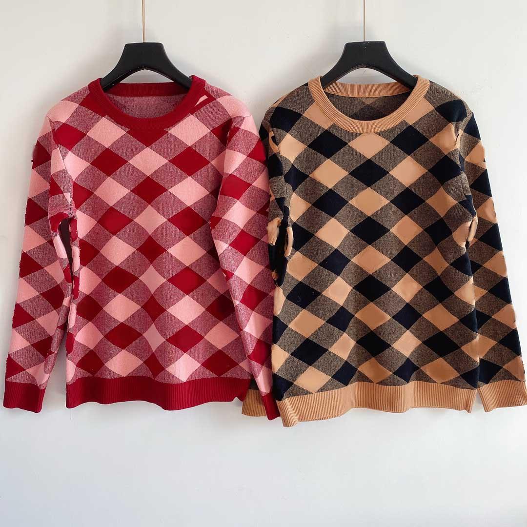 Mulheres moda camisola xadrez letra padrão malha pulôver contraste cor manga longa mulheres de alta qualidade casual tops