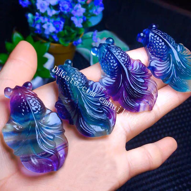 Natural Rainbow Fluorite Carved Crystal Goldfish Pendant Charm 30Pcs Wholesale Realistic Carving Genuine Rock Semi Precious Gemstone Drilled Fish Figurine Bead