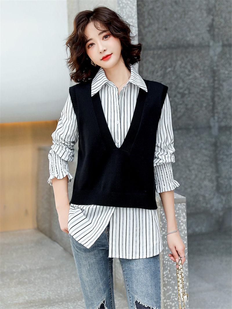 Vest de mode Ensemble Femme Tops Spring Casual Spring and Automne 2021 Nouveau Coréen Knit Gilet et Stripe Chemise à manches longues Deux pièces Set AQ049