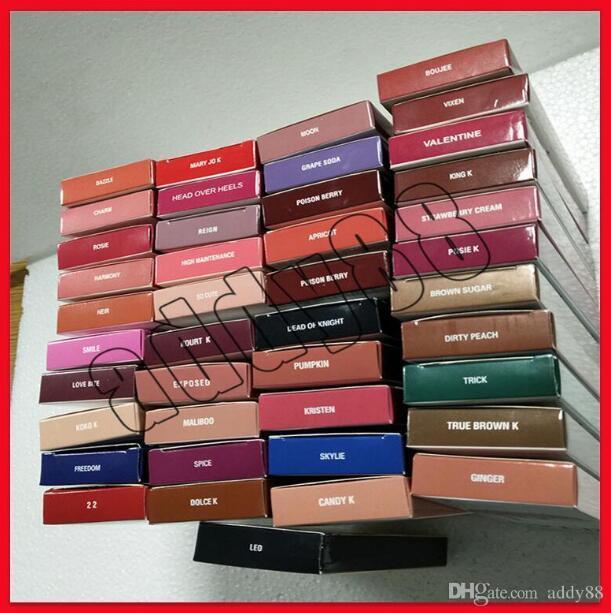 4 في 1! K Lip Kit Makeup Sets بواسطة Lipgloss Lipstick 41 Colors غير عصا خط القلم ماتي أحمر الشفاه 1 مجموعة = 1lipstick + 1Lipliner + 1eyeliner + 1pelil