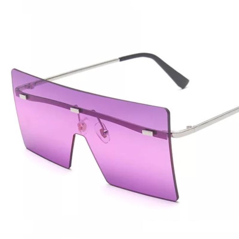 New Oversized Square Sun Glasses Colorful Lenses Fashion Women Sunglasses Rimless Big Shield 14 Colors Wholesale