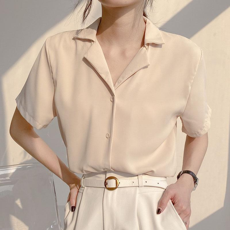 2021 Новый Vintge White с короткими рукавами kren Freele Solid Color Top Ldies на рубашке Bluss Chiffon одежда для женщин 1027