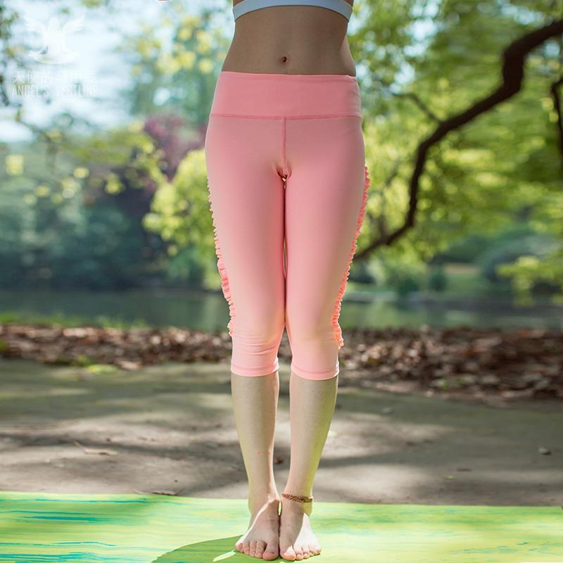 Frete Grátis Mulheres Yoga Shorts Respirável Sportswear Workout Shorts Lotus Lace Design 280002