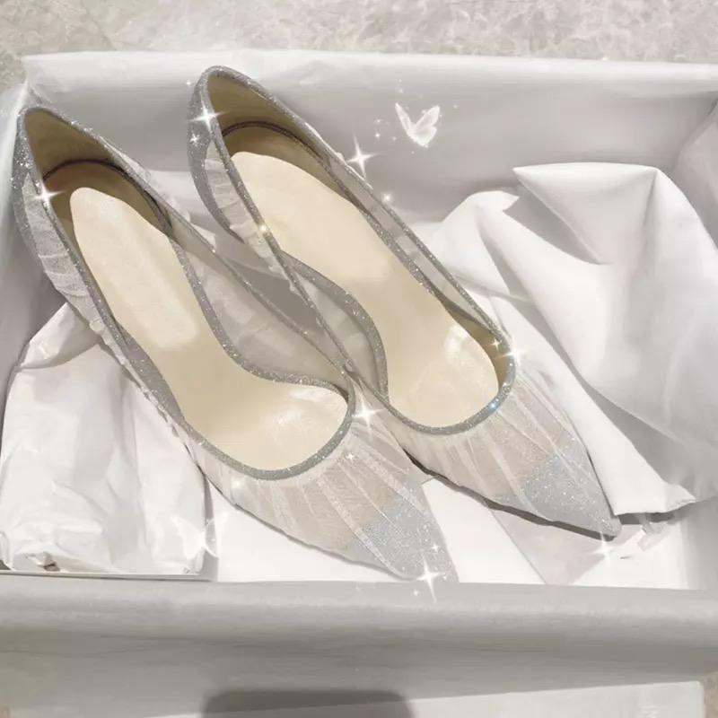 Bling Argent Silver Femmes Pompes à la mode Elegant Toe pointu Automne / Printemps Pompes Chaussures de mariage Femme Creuse Slow Slow Sandals