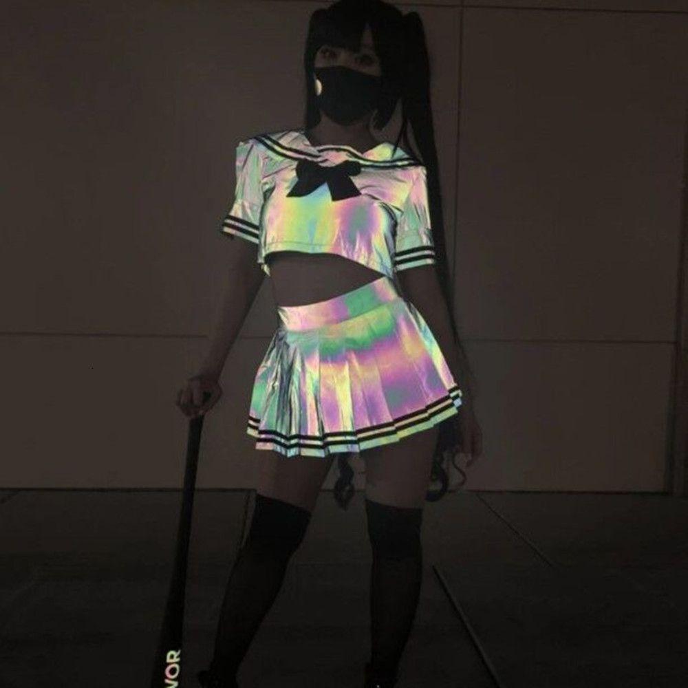 Pantaloni riflettenti del vestito della gonna pieghettata della gonna pieghettata della maglietta della ragazza della ragazza sexy colorata, pantaloni da pantaloni, PANT2021
