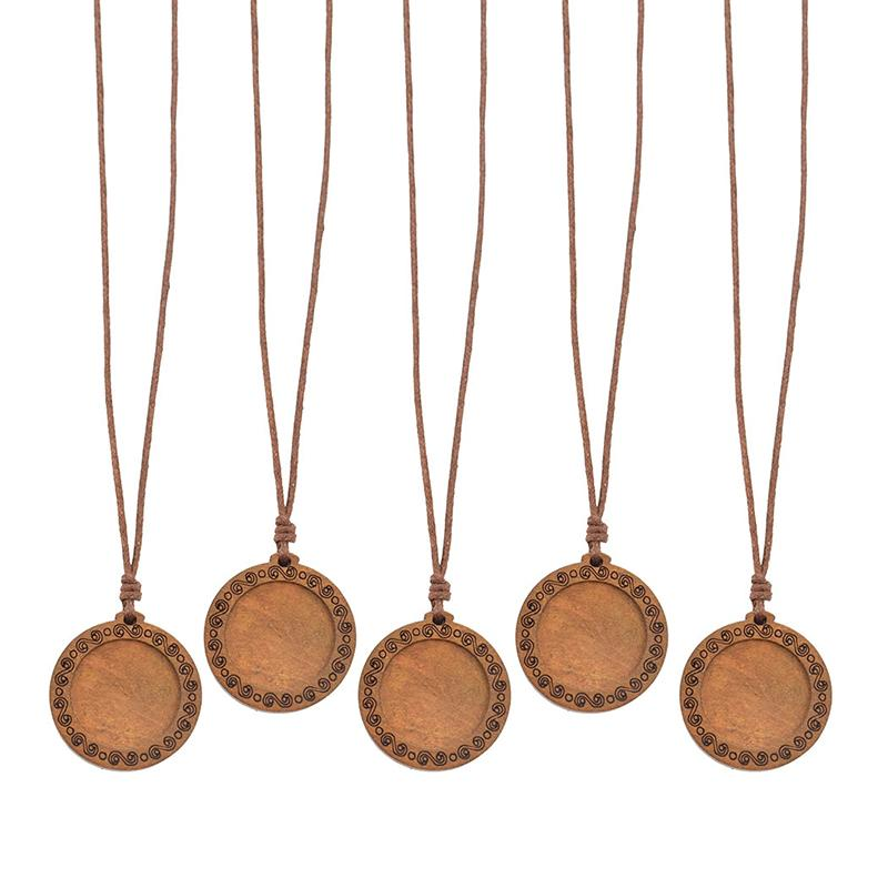 5PCS/lot Diy Wood Pendant Trays Base Fit 25mm Glass Cabochon Setting Blank Necklace Handmade Jewelry Making Supplies