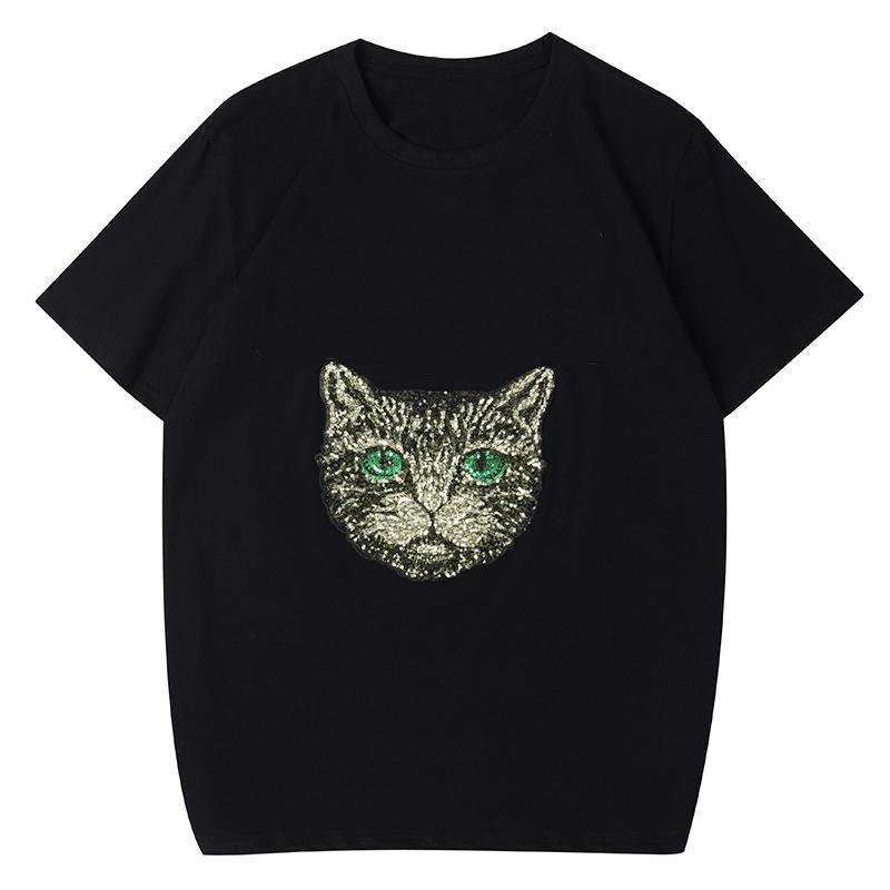 Trendy Kedi Baskı T Gömlek Lüks Erkekler Tasarımcı Kısa Kollu Yüksek Kalite Siyah Beyaz Tees Boyutu S-XXL