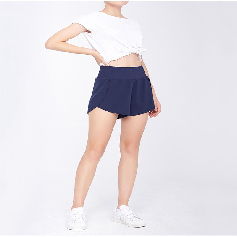 Women Shorts Fashion Thin Sports Large Size Loose Imitation Blemish High Waist Summer Fake Two-piece Running Yoga Fitness Pants