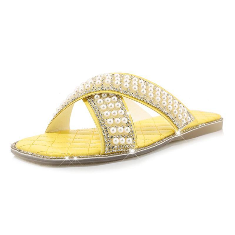 Pantofole Donne Estate Mules Moda Bling Bling Crystal Pearl Square Toe flat con scarpe per signore all'aperto