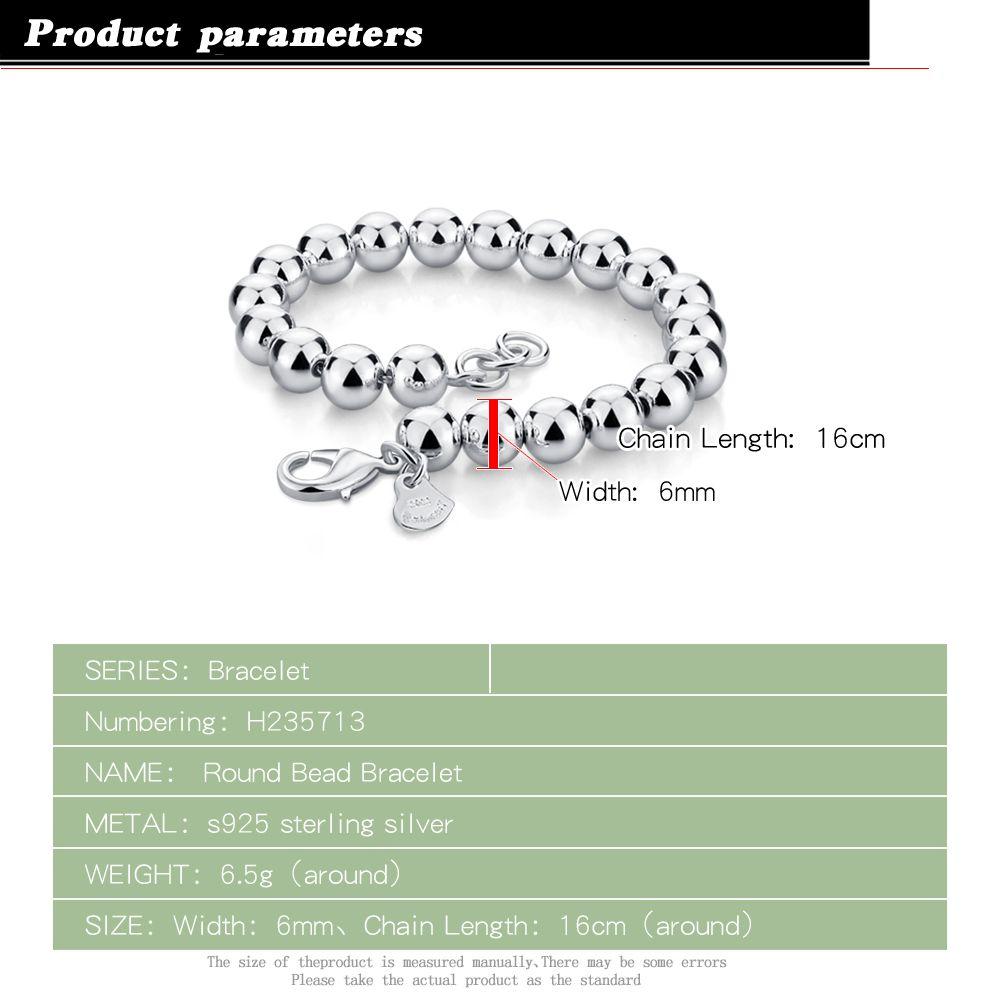 Bracelet en argent sterling Womens 925 Style Simple Chaîne perlée Solide Solid Sild Not Fade 6mm16-20cm Taille Charm Accessoires Femme