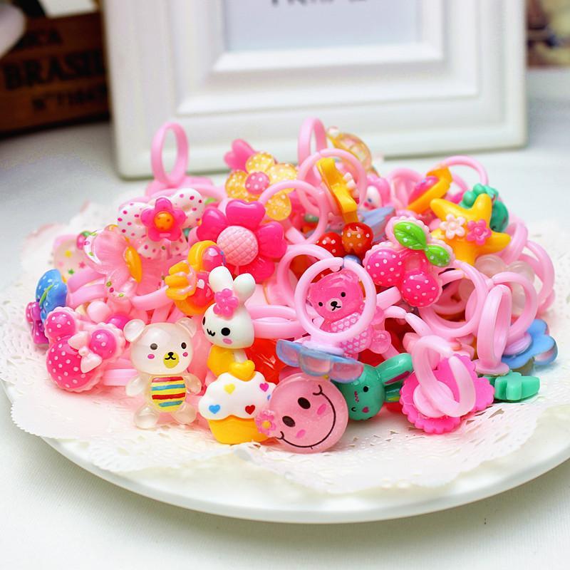Moda Bambini Ragazze Baby Bambini Bambini Toddlers Animali Fiore Anelli Cuore Anelli Gioielli Accessori regalo Candy Color Princess Finger Anelli 139 Q2