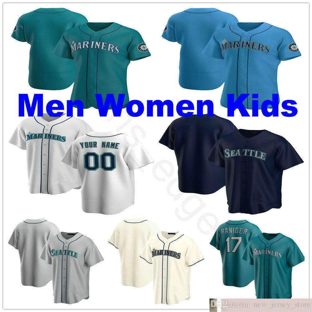 2020 Custom # 51 Randy Johnson Hisashi Iwakuma Dee Gordon Dan Vogelbach 24 Ken Griffey Jr. 13 Alex Rodriguez Man Mujeres Niños Jerseys de béisbol