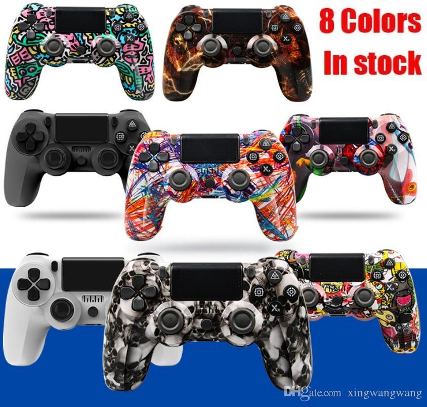 8 ألوان بلوتوث تحكم لاسلكي ل ps4 الاهتزاز عصا التحكم gamepad لعبة مقبض كامو تحكم لمحطة اللعب أربعة جيل