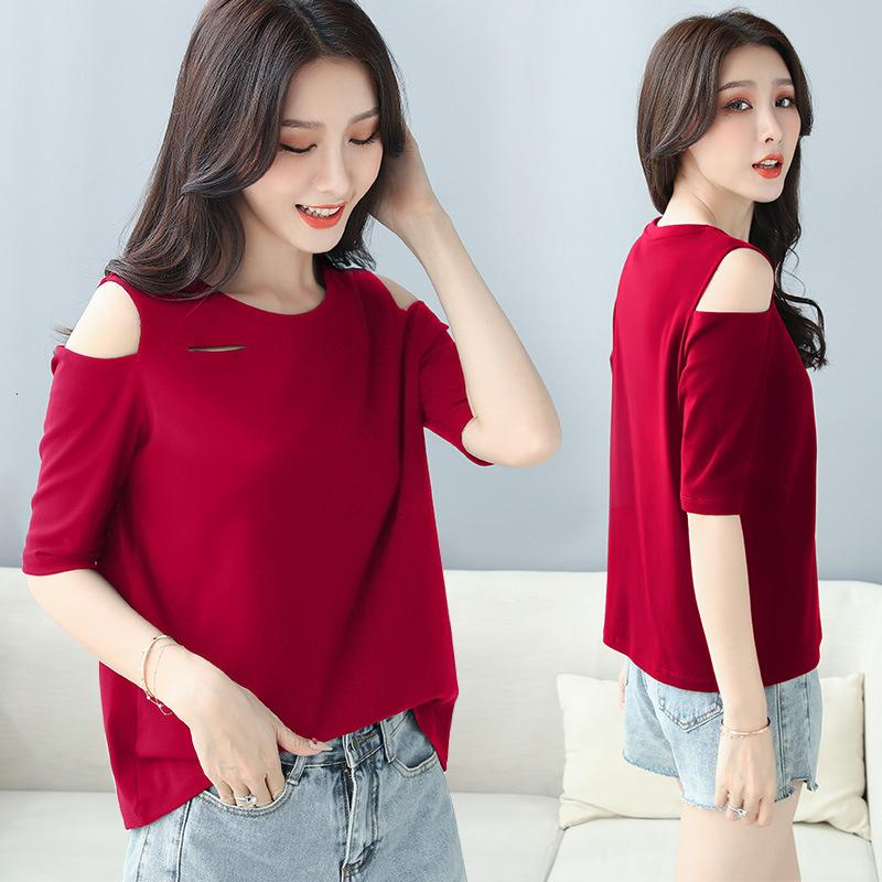 Отверстие в футболке Широкое трюфельное плечо половина маленького сексуального большого размера умный средний рукав топ женский квартал