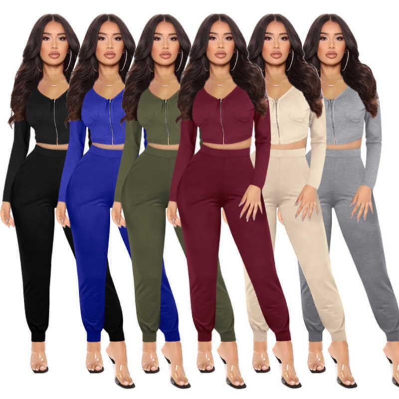 women jacket sportswear two piece set tracksuits outfits long sleeve trousers sweatsuit pullover tights legging suits