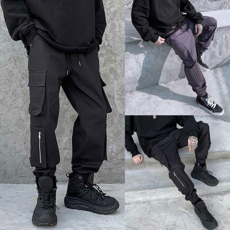 Erkek Rahat Kargo Pantolon Şerit Halat Dekorasyon Ile 2021 Yeni Rahat Cepler Parça Pantolon Moda Pantolon Siyah Gri