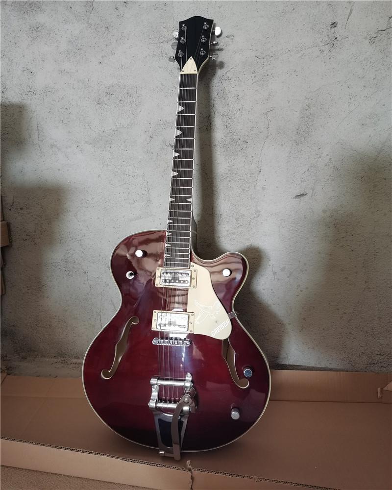 Kırmızı şarap elektro gitar kremalı sarı pickguard, gülağacı klavye, tremolo sistemi, özelleştirilebilir