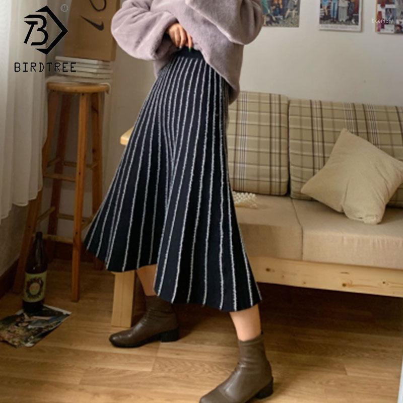 Женщины вязаные A-Line юбка с высокой талией стария винтажные полосатые женщины зима теплая вспышка дна длинная юбка хорошее качество B00017N1