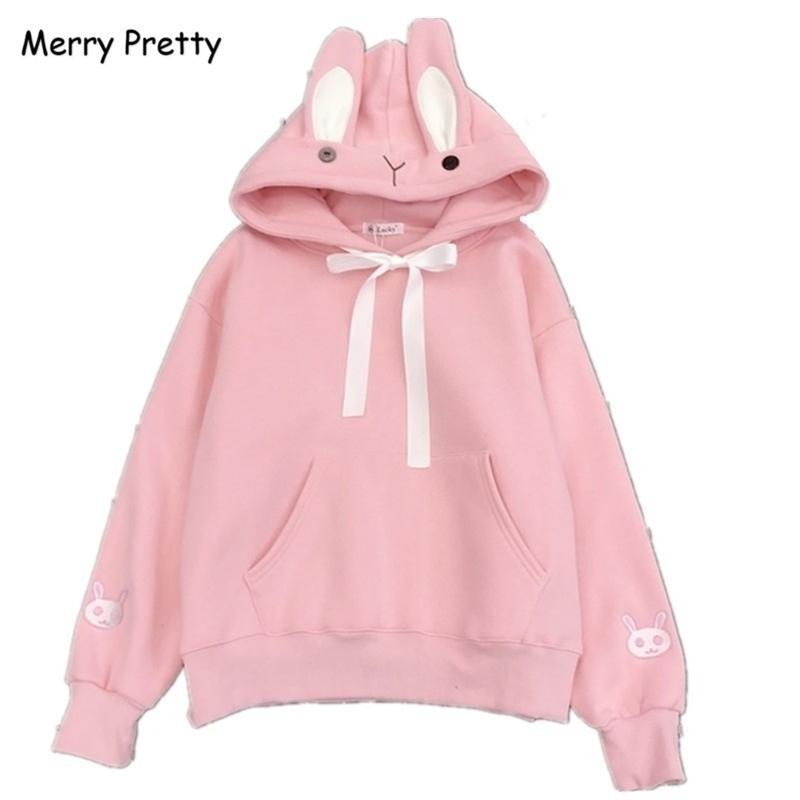Веселые симпатичные Kawaii сладкие кролики уши с капюшоном толстовка женщин Harajuku мультфильм вышивка толстовки трексуиты Moletom Pullovers LJ201130