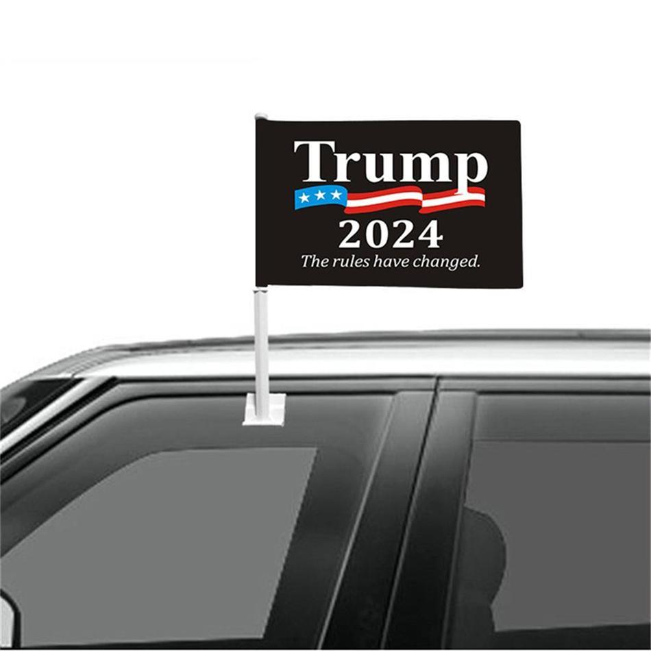 Горячие Продажи Трамп 2024 Оконный флаг Автомобиля Флаг Президентские выборы MAGA Висит 45 * 30 см Баннер Держите Америку Великий Флаг кампании Трампа