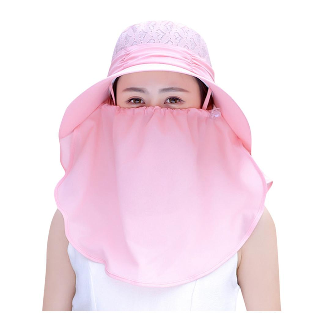 Sol dobrável das mulheres chapéus UV proteção largamente borda do sol cara protetor de pescoço de pele de verão chapéus de praia Sorridos sólidos chapéus l0310 j0226