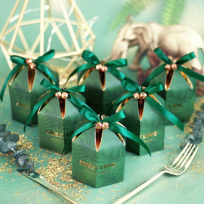 Caixa de doces verdes com fita de chocolate caixas de presente lembranças para convidados favores do casamento e presentes aniversário favores favores 210724