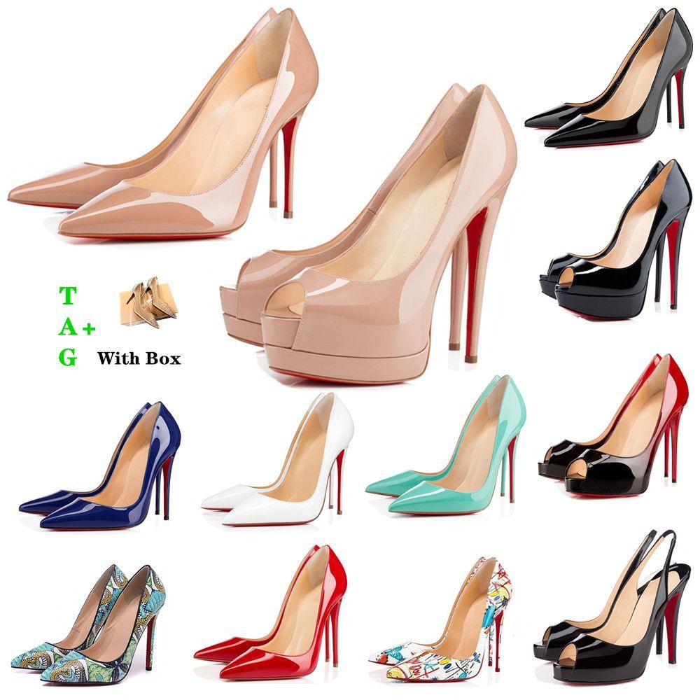 Frau rote Bottoms High Heels Plattform Peep-toes Sandalen Designer Sexy spitz rots Sohle 8 cm 10 cm 12 cm Pumps Luxurys Frauen Hochzeitskleid Schuhe Nackt schwarz glänzend