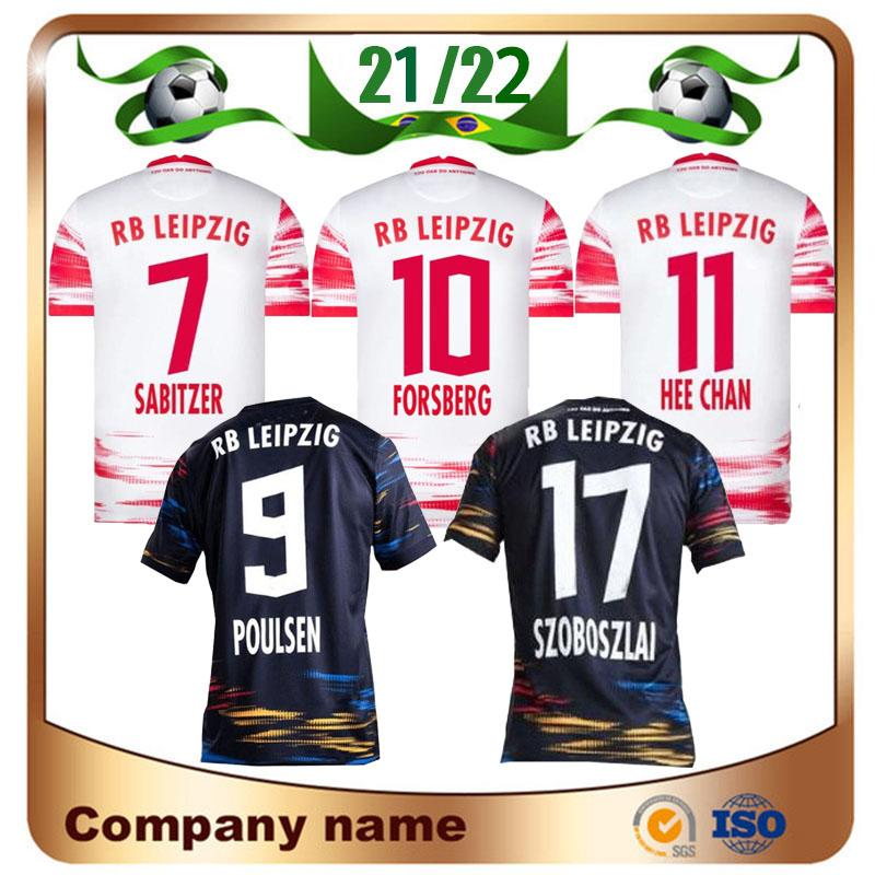 21/22 RBL Leipziges Jerseys de futebol 2021 Poulsen Forsberg Hee Chan Sabitzer Upamecano Szoboszlai Kluivert Camisa De Futebol Uniformes