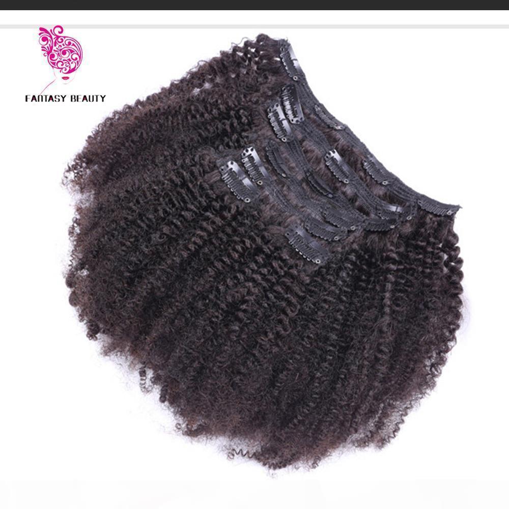 Клип в наращиваниях человеческих волос 7 шт. Установить бразильский афроамериканский клип в человеческих волосах наращивания волос клип