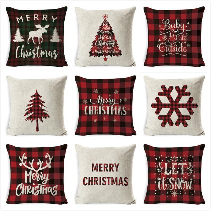 Kissen / dekorative Kissen Kissenbezug Weihnachten Schlafsofa Home Decor Gitter Wurfhülle Funda Cojin Housse de coussin