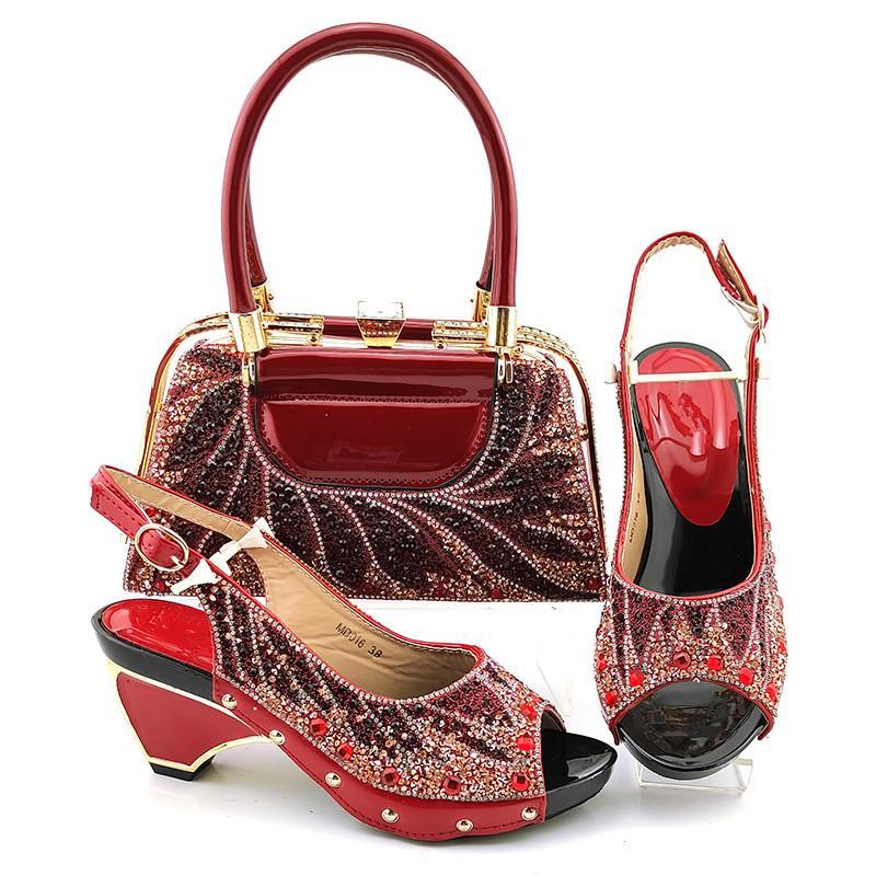 Zapatos de vino de moda de Wine Match Backbag Set con decoración de diamantes de imitación Bombas y bolsas africanas para el vestido MD016, Heel 7.5cm
